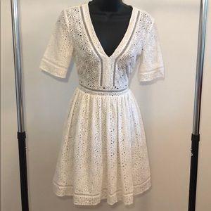 H&M Size 2 White Cotton / Linen Dress